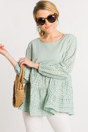 Eyelet Bottom Top, Sage