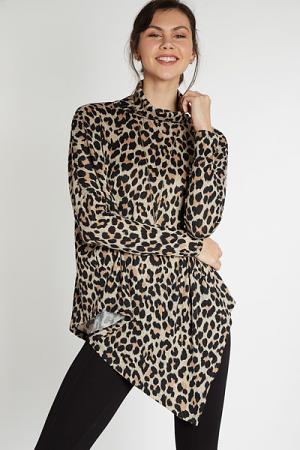 Asymmetrical Cowl Tunic, Leopard