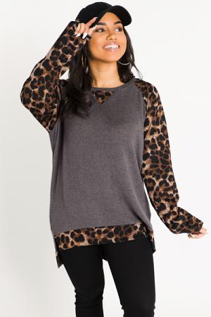 Leopard Raglan Tunic, Charcoal