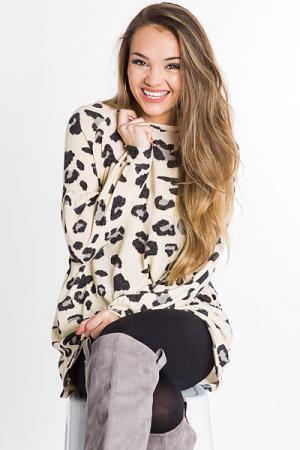 Leopard Sweater Frock, Ivory
