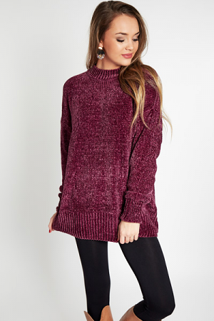 Round Neck Chenille, Purple
