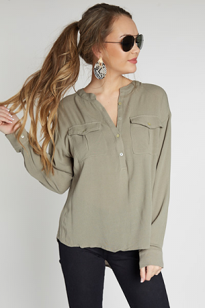 Oversized Button Shirt, Olive