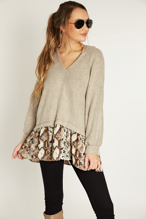 Contrast Hoodie, Taupe Snake