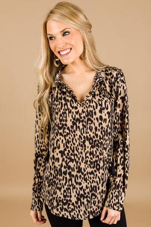 Tassel Tie Leopard Blouse