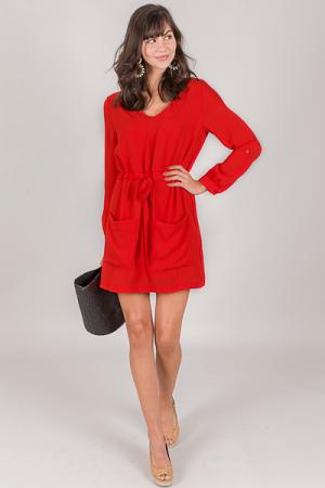 In a Cinch Dress, Red