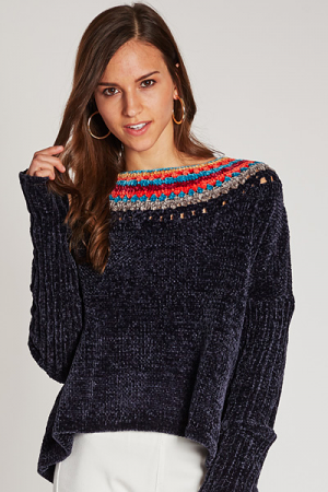 Pop of Color Chenille Sweater