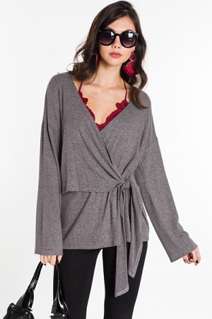 Lazy Lover Wrap Top, Smoke