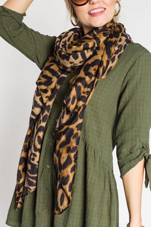 Essential Leopard Scarf, Brown