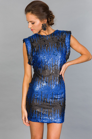 Black and Blue Sequin Dress
