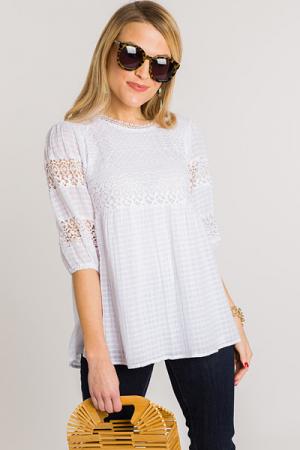 Crochet Detail Top, White