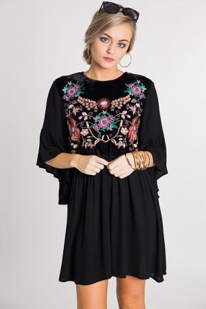Velvet Embroidery Dress, Black