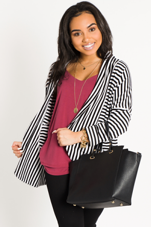 Thick Knit Striped Cardi