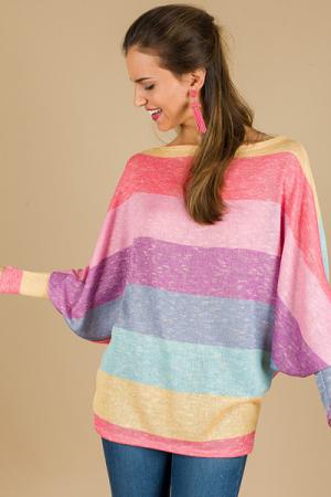 Rainbow Stripe Dolman Top