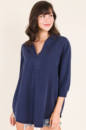 Tencel Collared V Neck, Navy