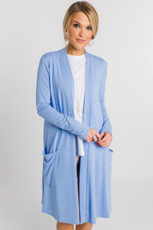 Slouchy Pocket Cardigan, Blue