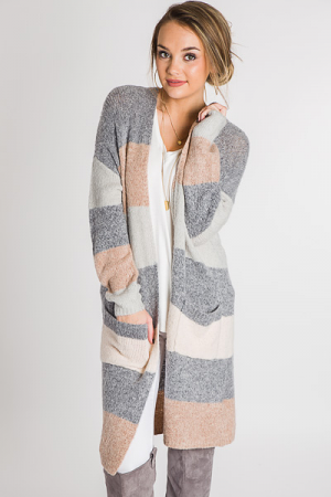 Striped Sweater Duster, Neutral