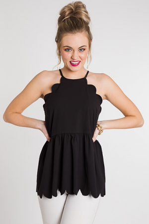 Scallop Edge Peplum Tank, Black