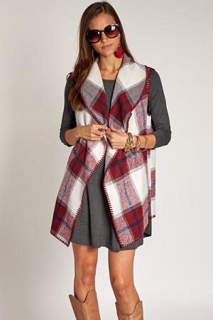 Murphy Blanket Vest, Wine