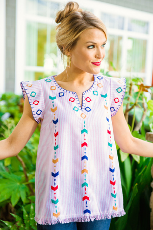 Pinkie Embroidered Top