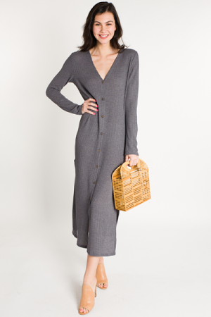 Waffle Knit Duster, Grey