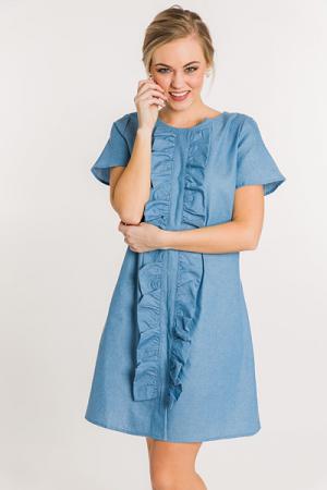 Ruffle Front Denim Dress