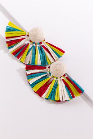 Raffia Fan Earrings, White