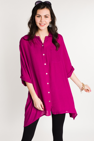 Oversized Button Down, Berry