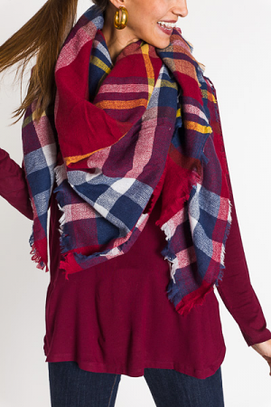 Holiday Plaid Scarf, Red