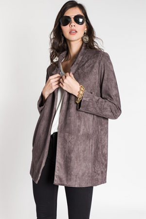 Long Sleeve Blazer, Charcoal