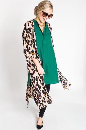 Leopard Crepe Duster