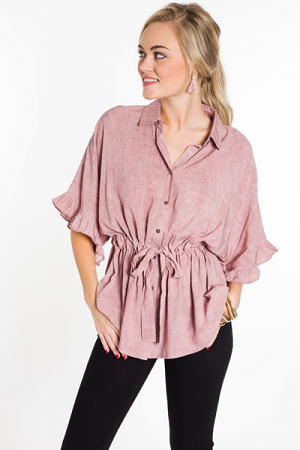 Tie Waist Ruffle Top, Dusty Pink