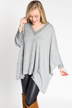 Brushed Knit Poncho, H. Grey