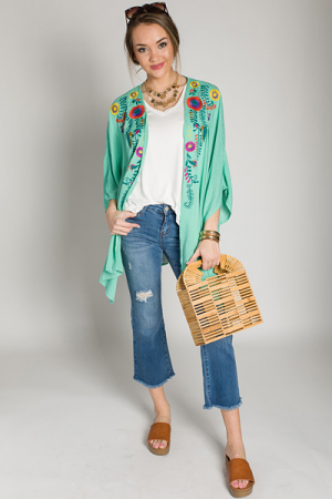 Mint for Me Embroidered Kimono