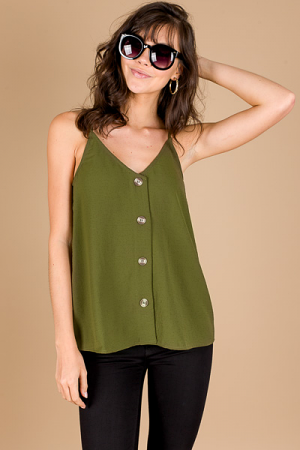 Buttoned Up Cami, Olive