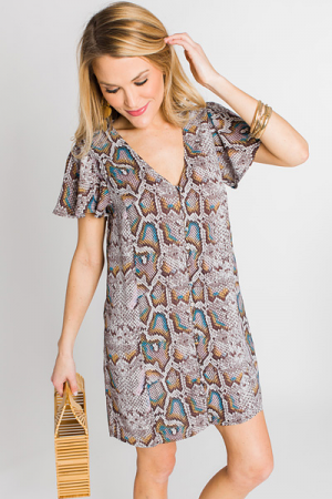 Hailey Snakeskin Button Frock