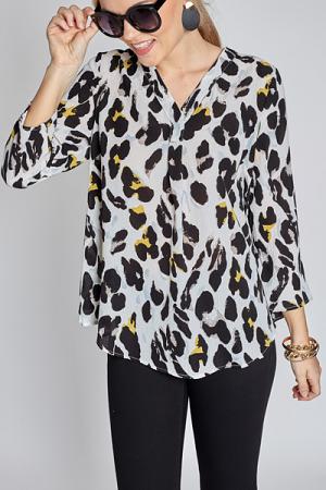 Lea Top, Mustard Leopard