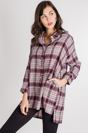 My Plaid Button Down Tunic