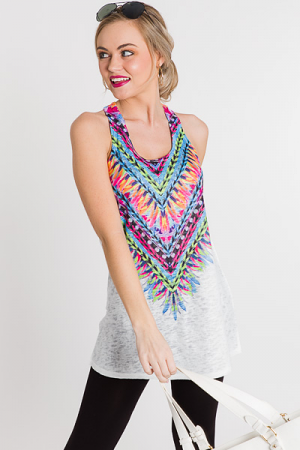 Printed Knit Tank, Feather