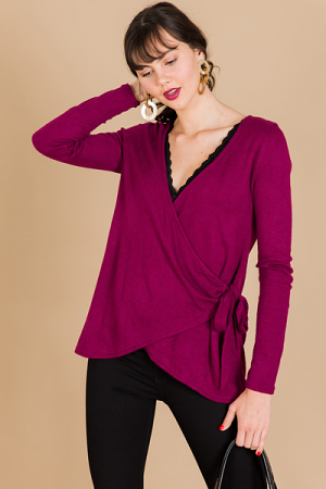 Side Tie Sweater, Magenta