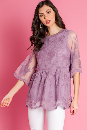 Elbow Sleeve Lace Top, Lavender