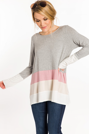 Muted Colorblock Tee, Grey