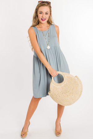 Tiered Bamboo Dress, Dusty Blue