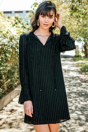 Metallic Woven Dress, Black