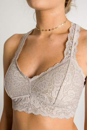 Padded Lace Bralette, Champagne
