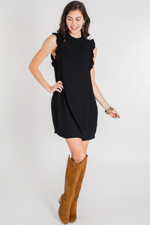 Ready to Ruffle Dress, Black
