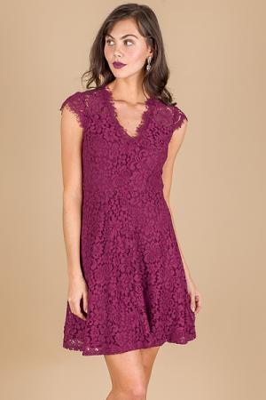 Lacey Burgundy Dress