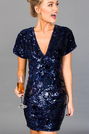 THE Sequin Dress, Navy