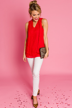 Textured Tie Neck Top, Red