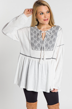 Emmy Embroidered Tunic, White