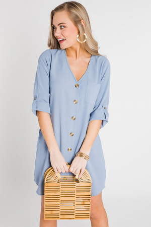 Buttoned V Dress, Dusty Blue